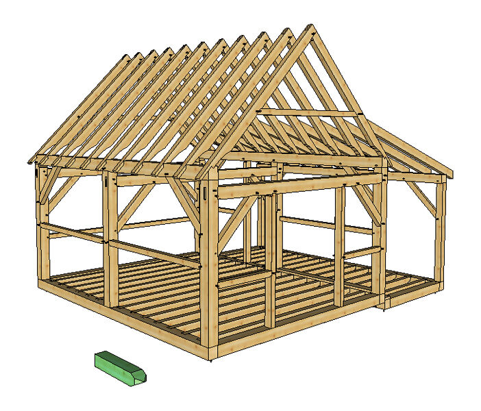 Timber frame cabin plans size 16 39 x 20 39 w porch two doors for Small timber frame cabin plans