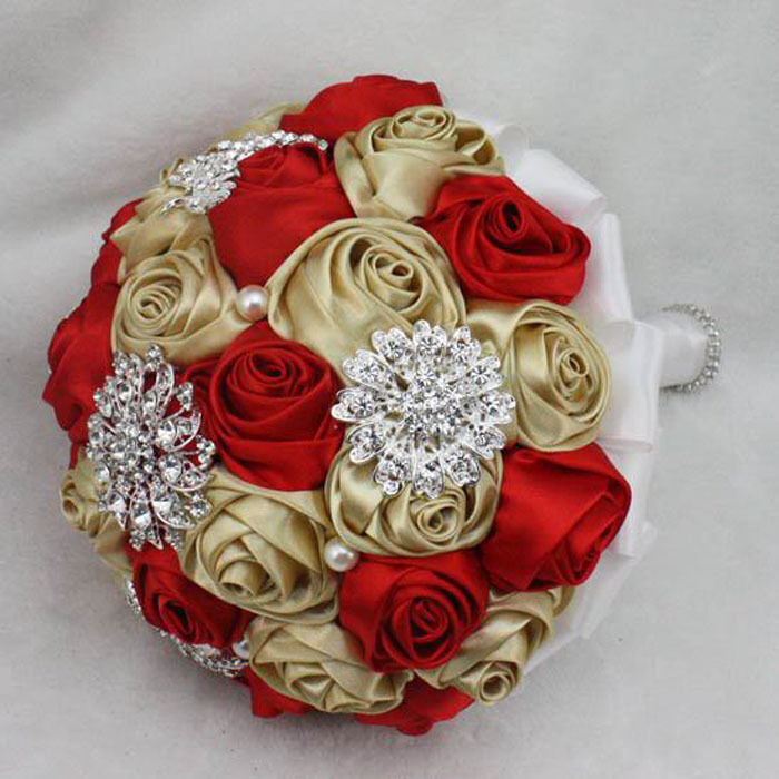 Gold Wedding Flowers: Red & Gold Silk Roses Flowers Wedding Bridal Bouquets