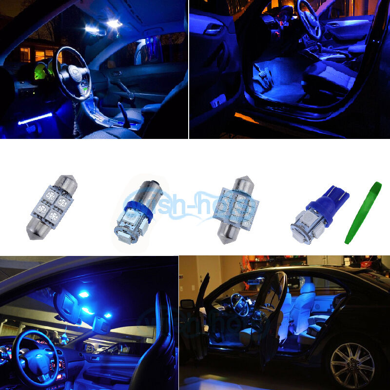 Interior car led bulbs light kit package blue 10000k for vauxhall astra h mk5 p ebay for Led car interior lights ebay