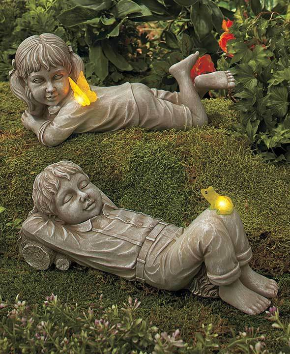Solar daydreaming girl boy statue w lighted butterfly for Lawn and garden ornaments