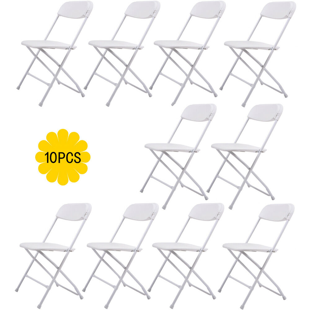 Details about (10 PACK) Commercial Wedding Quality Stackable Plastic Folding Chairs White  sc 1 st  eBay & 10 PACK) Commercial Wedding Quality Stackable Plastic Folding Chairs ...