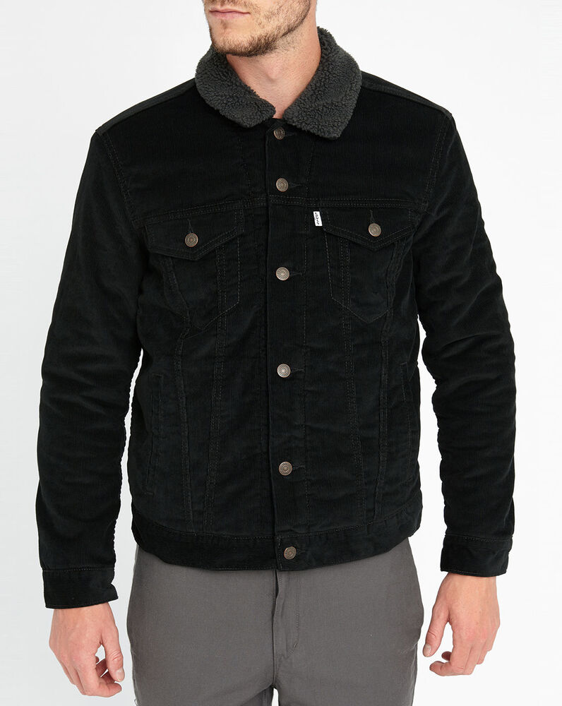 levi 39 s men 39 s sherpa trucker jacket black dark corduroy ebay. Black Bedroom Furniture Sets. Home Design Ideas