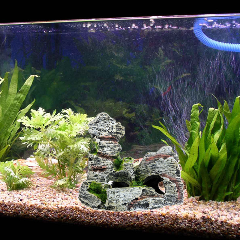 Mountain view decor aquarium rock cave tree bridge fish for Aquarium cave decoration