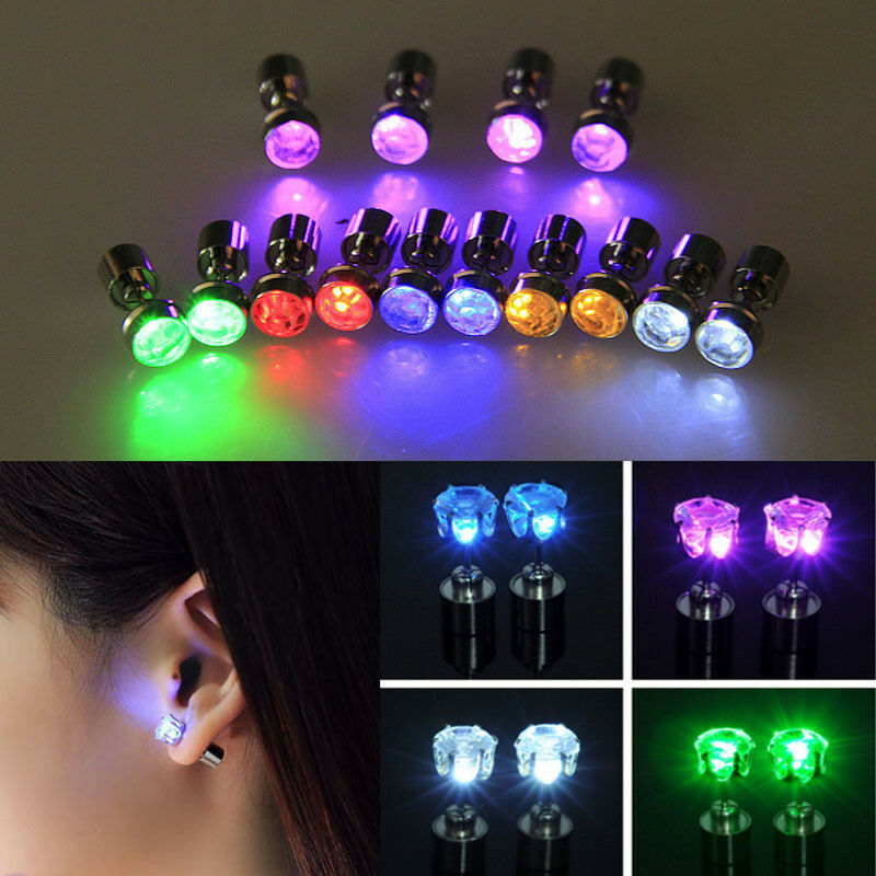 Color Led Earrings Light Up Glowing Studs Ear Ring Drop: 2 PCS Fashion Light Up LED Bling Earrings Ear Studs Dance