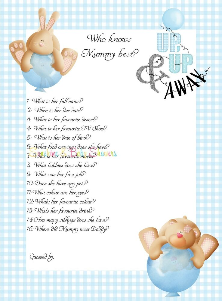 who knows mummy best baby shower game cute blue up up away design