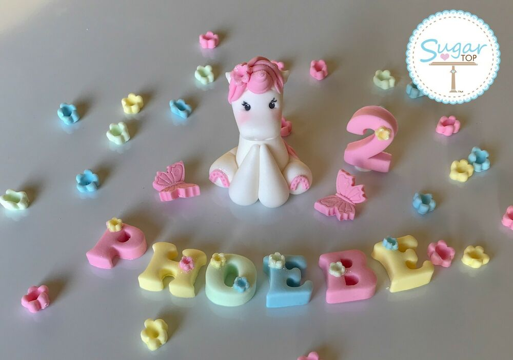 EDIBLE FAIRYTALE UNICORN HORSE CAKE TOPPER DECORATION PLUS ...