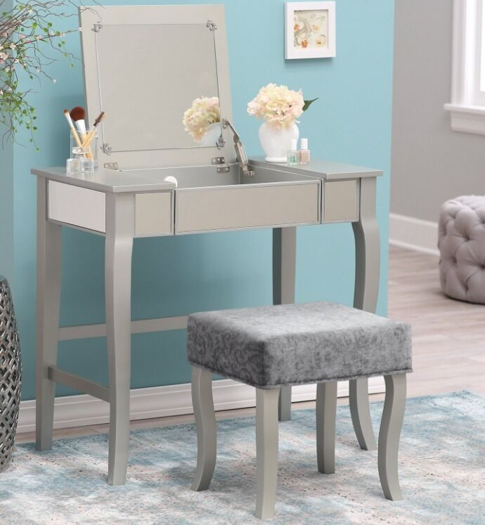 glamrous mirrored vanity set make up table stool dressing room bedroom furniture ebay. Black Bedroom Furniture Sets. Home Design Ideas