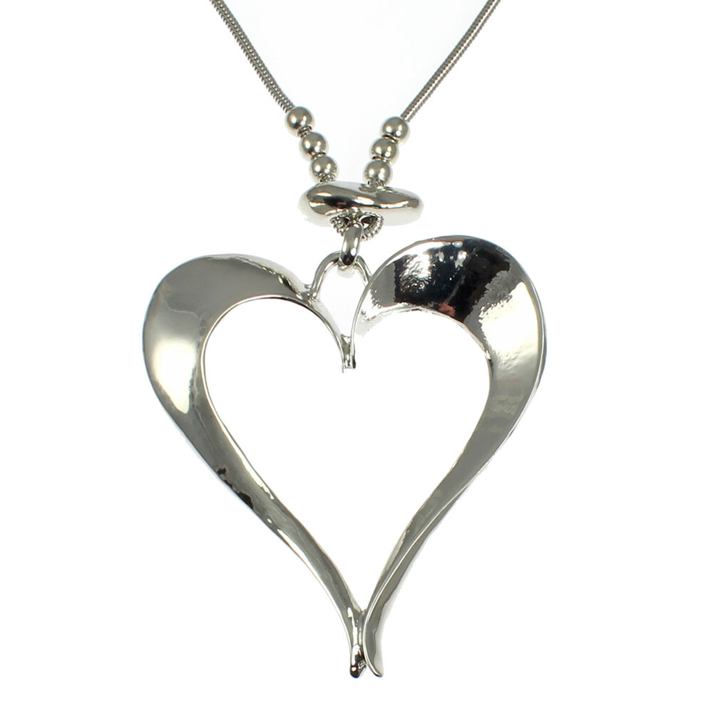 44c03d30ea78 Details about Lagenlook silver colour large heart pendant on a long fitting  chain necklace