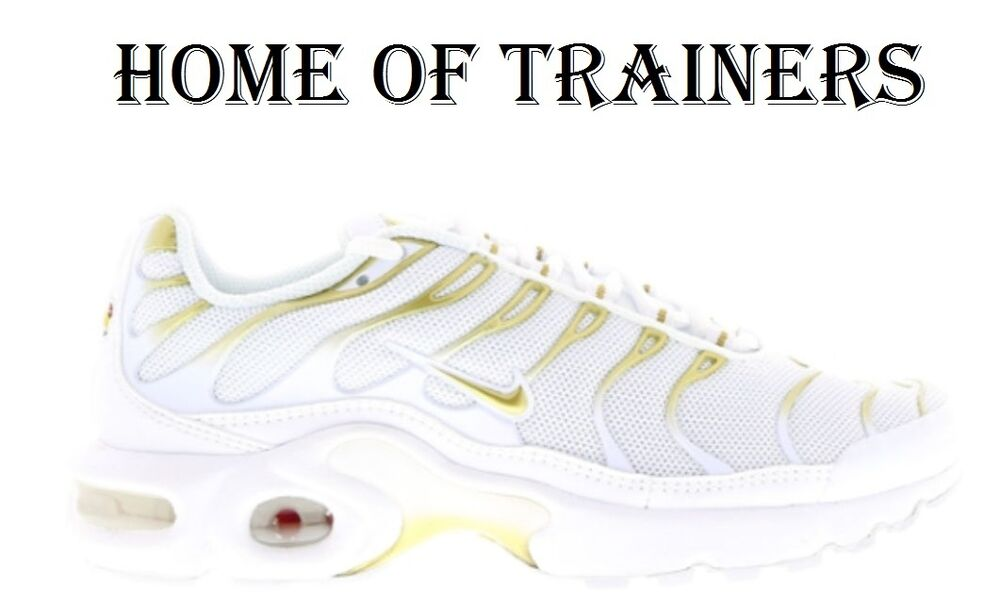 NIKE AIR MAX PLUS TNS(GS) TRAINERS WHITE WHITE GOLD ALL SIZES 3 4 5 6 7  f13168860