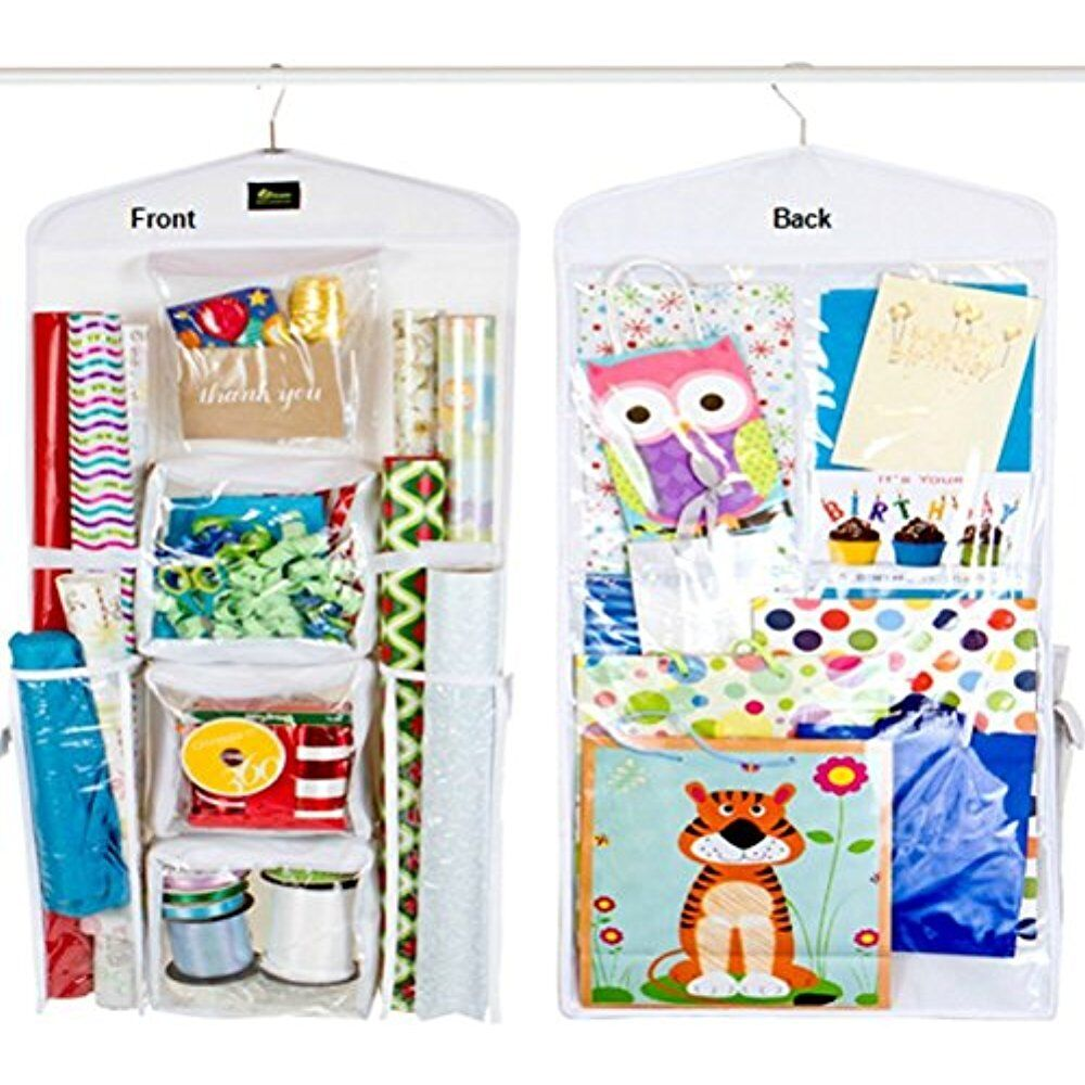 Dual sided gift wrap storage vertical gift wrap organizer for Vertical gift wrap storage