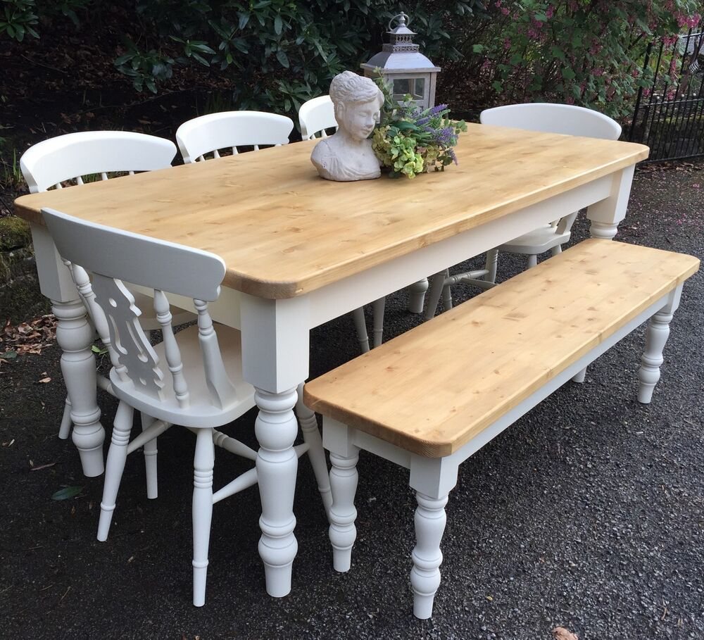6ft Pine Farmhouse Dining Table, Chairs And Bench Handmade