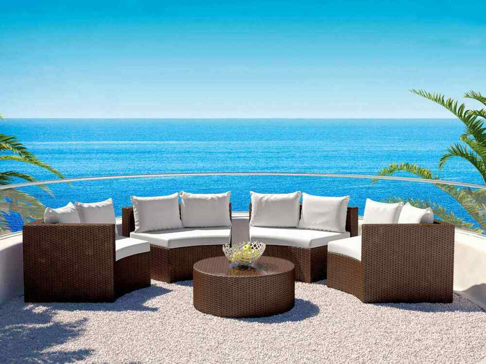 hochwertige halbrunde polyrattan gartenlounge sitzgruppe gartenm bel 3 farben ebay. Black Bedroom Furniture Sets. Home Design Ideas