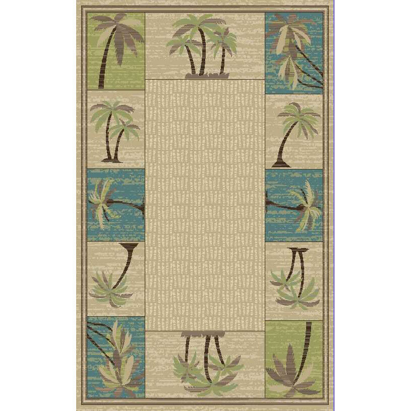 8x10 7 10 Quot X 9 10 Quot Tropical Palm Tree Coastal Area Rug