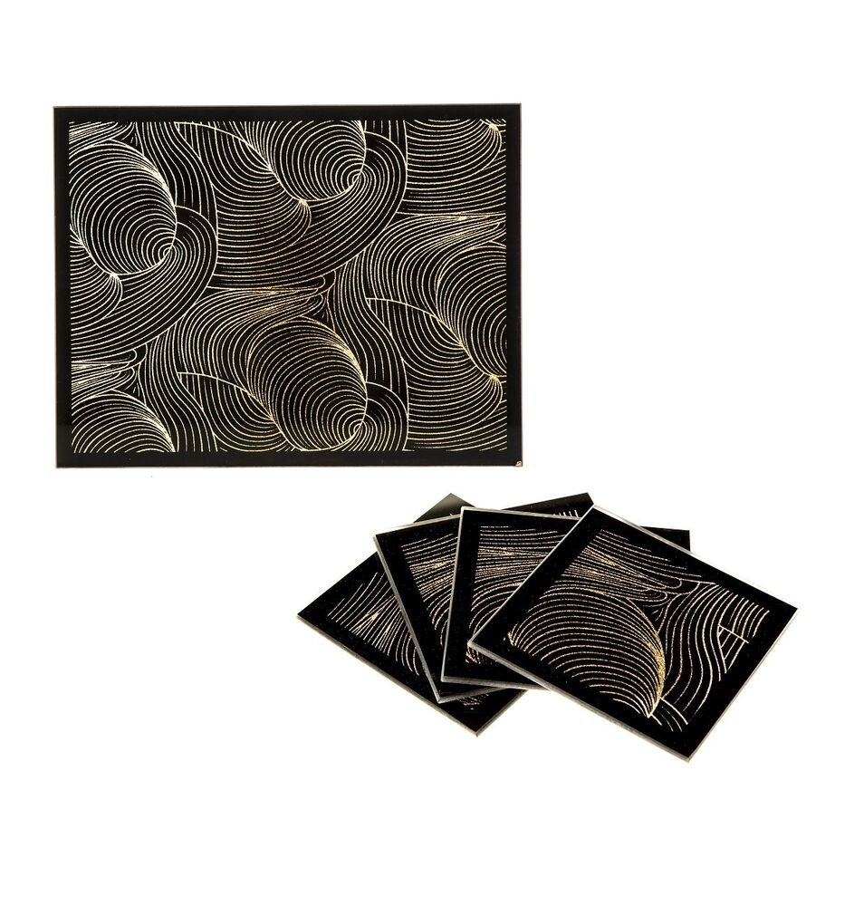 Set of sparkle glass shimmer black gold swirl pattern for Glass table placemats