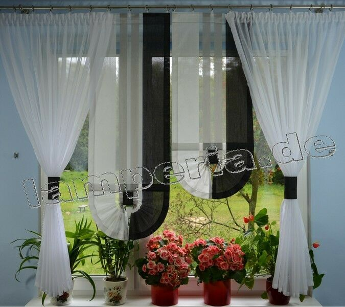 fenster 140 cm gardine komplett dekoration wohnzimmer wei grau schwarz 00559 ebay. Black Bedroom Furniture Sets. Home Design Ideas