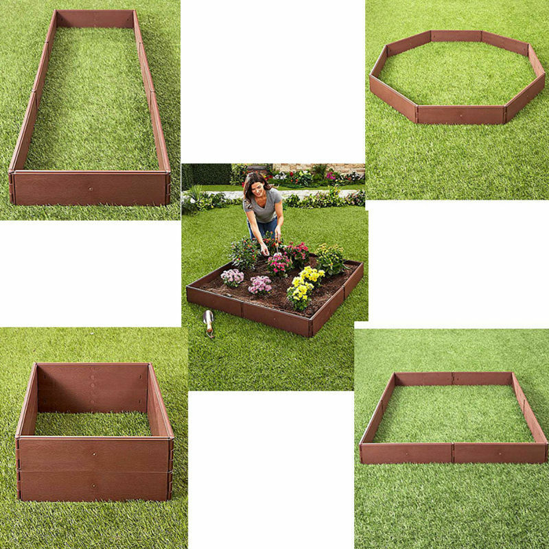 Rectangle Raised Flower Box Planter Bed 2 Tier Soil Pots: Raised Garden Bed Set Flower Vegetables Seeds Planter Kit