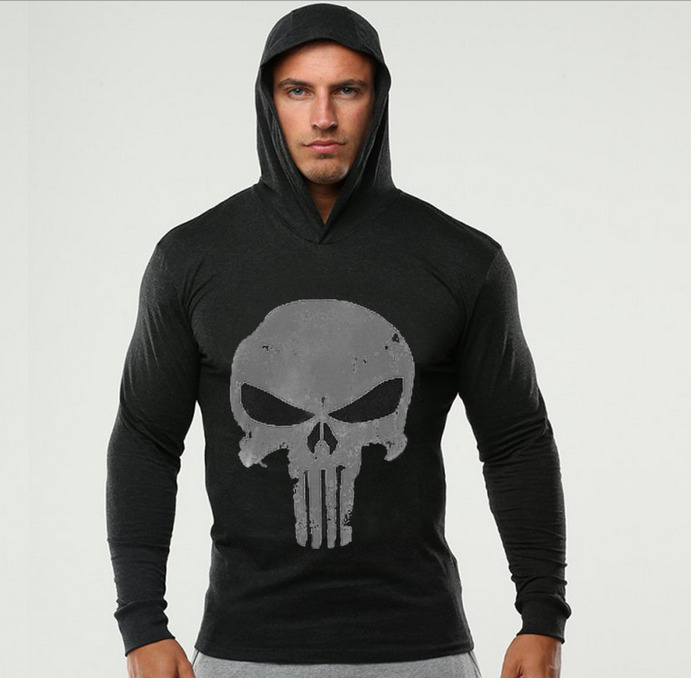 The punisher men gym thin hoodies long sleeve hoodie for Thin long sleeve t shirts
