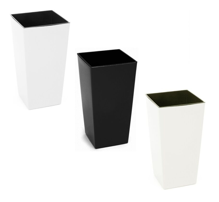 Gloss Square Large Plant Pots Tall Plastic Planters Indoor
