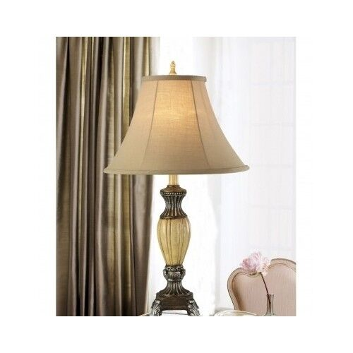 Antique Silver Table Lamp 24 Cream Accent Lighting Bedroom Living Room Decor Ebay