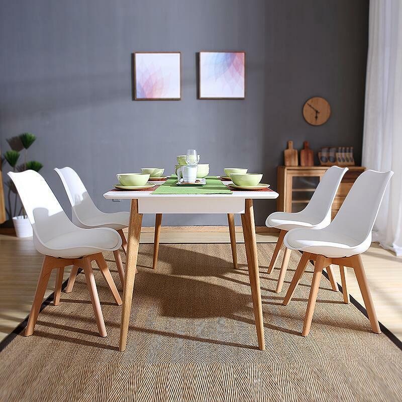 Set of 4 dining chairs retro dining room set table chairs home office wooden leg ebay - Retro dining room chairs ...