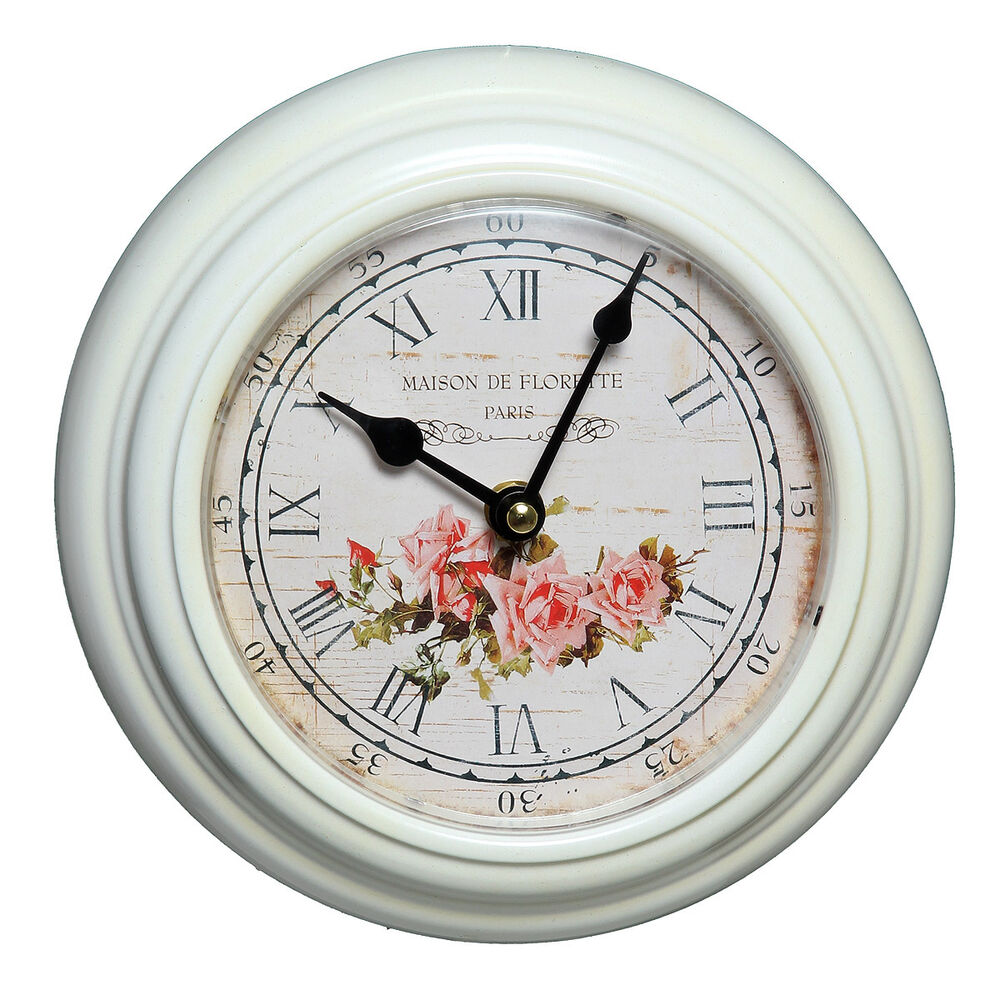 uhr wanduhr weiss roses maison de florette paris shabby chic cottage brocante ebay. Black Bedroom Furniture Sets. Home Design Ideas