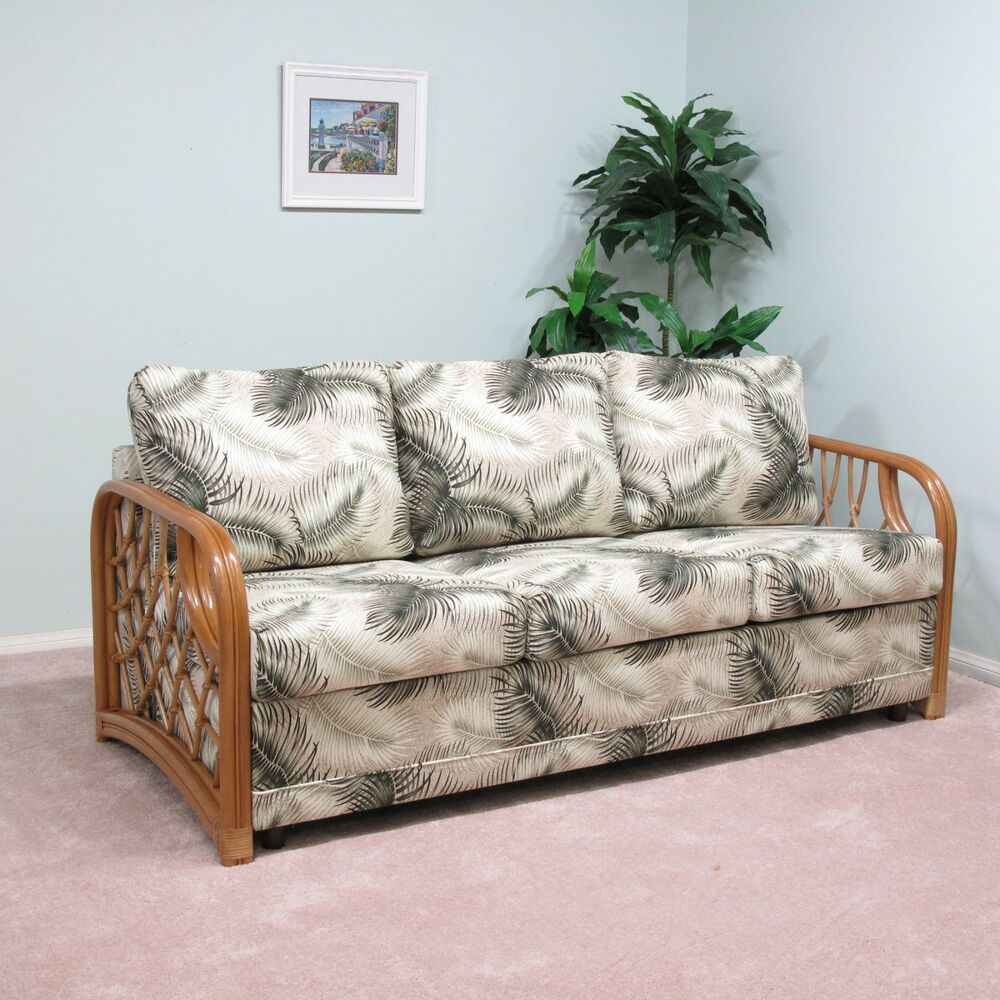 Made in usa newton rattan sofa queen sleeper bed custom for Wicker futon sofa bed