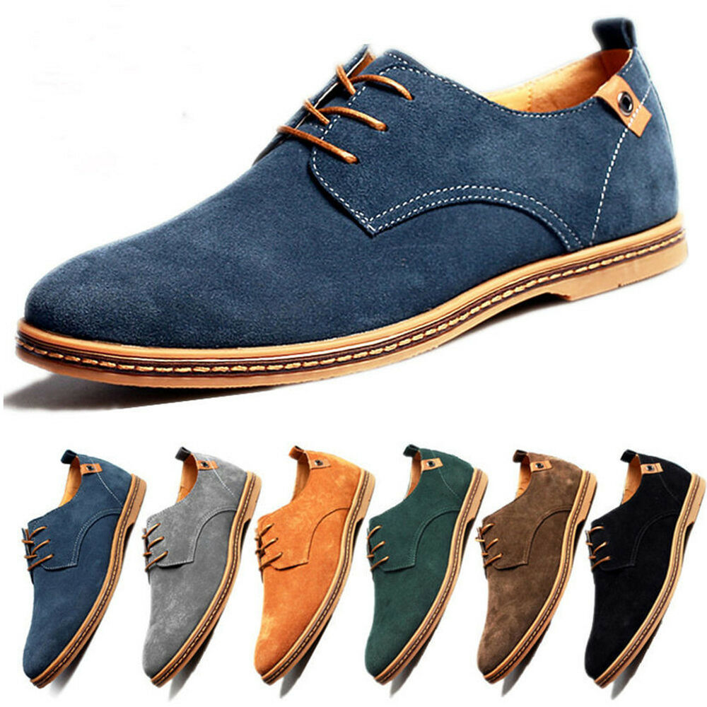 multi size mens suede casual oxfords leather shoes