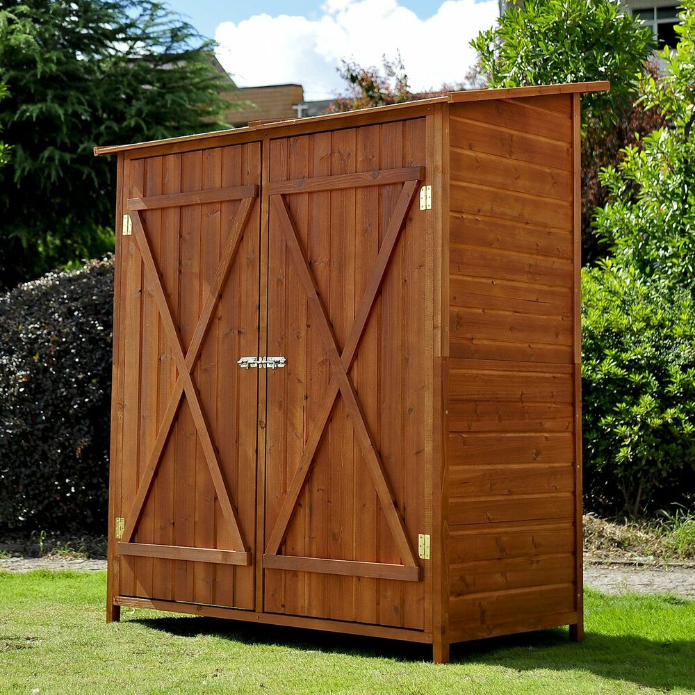 Garden wooden shed storage unit tool bike outdoor patio for Wooden garden storage shed