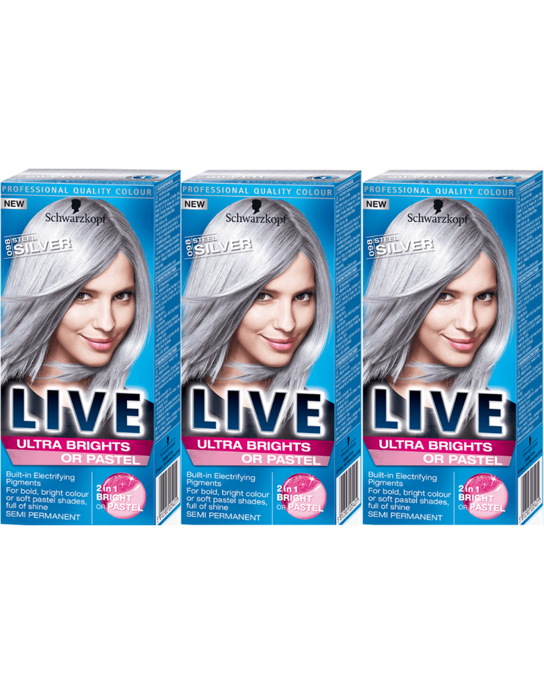 Schwarzkopf Live Ultra Bright 098 Steel Silver Semi Perm Colour Hair