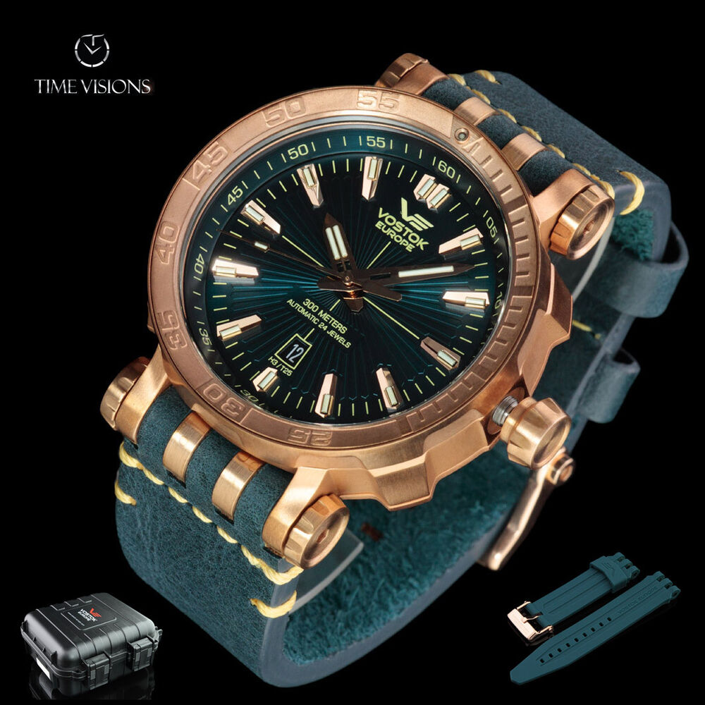 Vostok europe 49mm energia bronze case automatic w 17 tritium tubes dry box ebay for Vostok europe watches