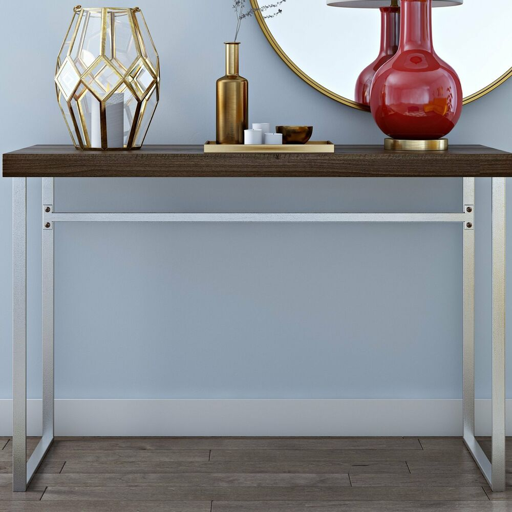 Industrial console table furniture living room hall rustic wooden top metal legs ebay Metal living room furniture