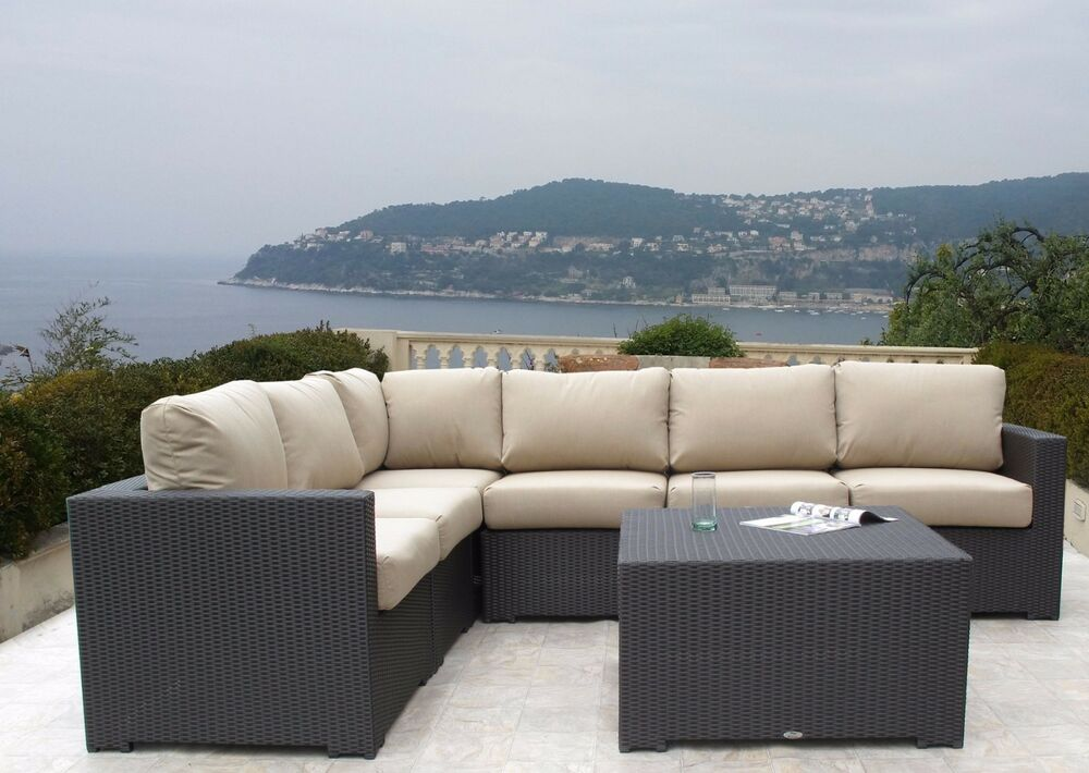 Hudson Outdoor Resin Wicker Modular Sectional 7pc Set