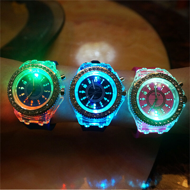 Unisex Silicone Strap Led Wristwatch Luminous Glow In The