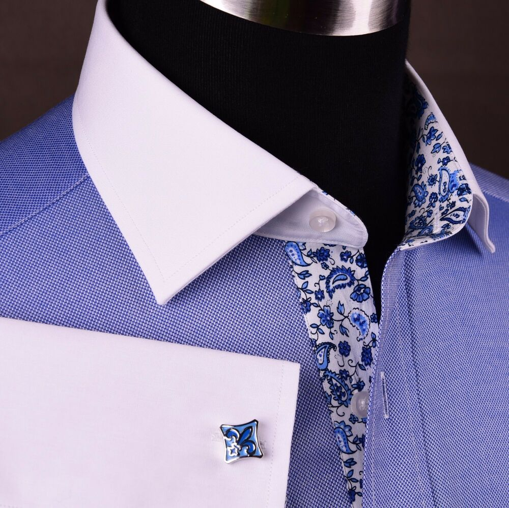 Blue oxford formal business dress shirt floral white for Mens dress shirts with contrasting collars and cuffs