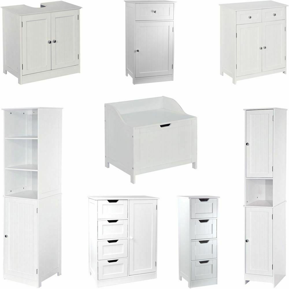 Priano freestanding bathroom cabinet unit white vanity cupboard storage unit ebay for White bathroom cabinets free standing