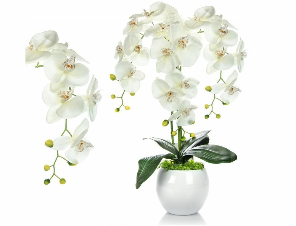 kunstblumen gesteck orchidee weiss vase fensterschmuck blumengesteck tisch deko ebay. Black Bedroom Furniture Sets. Home Design Ideas