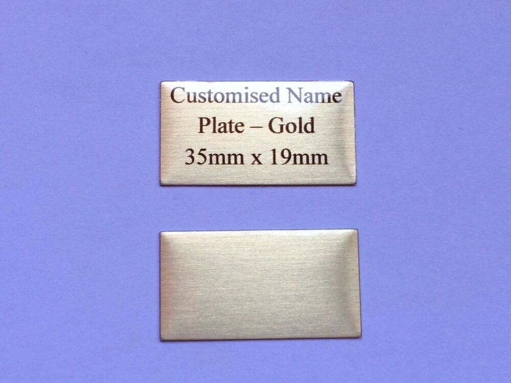 name plate gold 35mm x 19mm premium quality metal plaque ebay. Black Bedroom Furniture Sets. Home Design Ideas