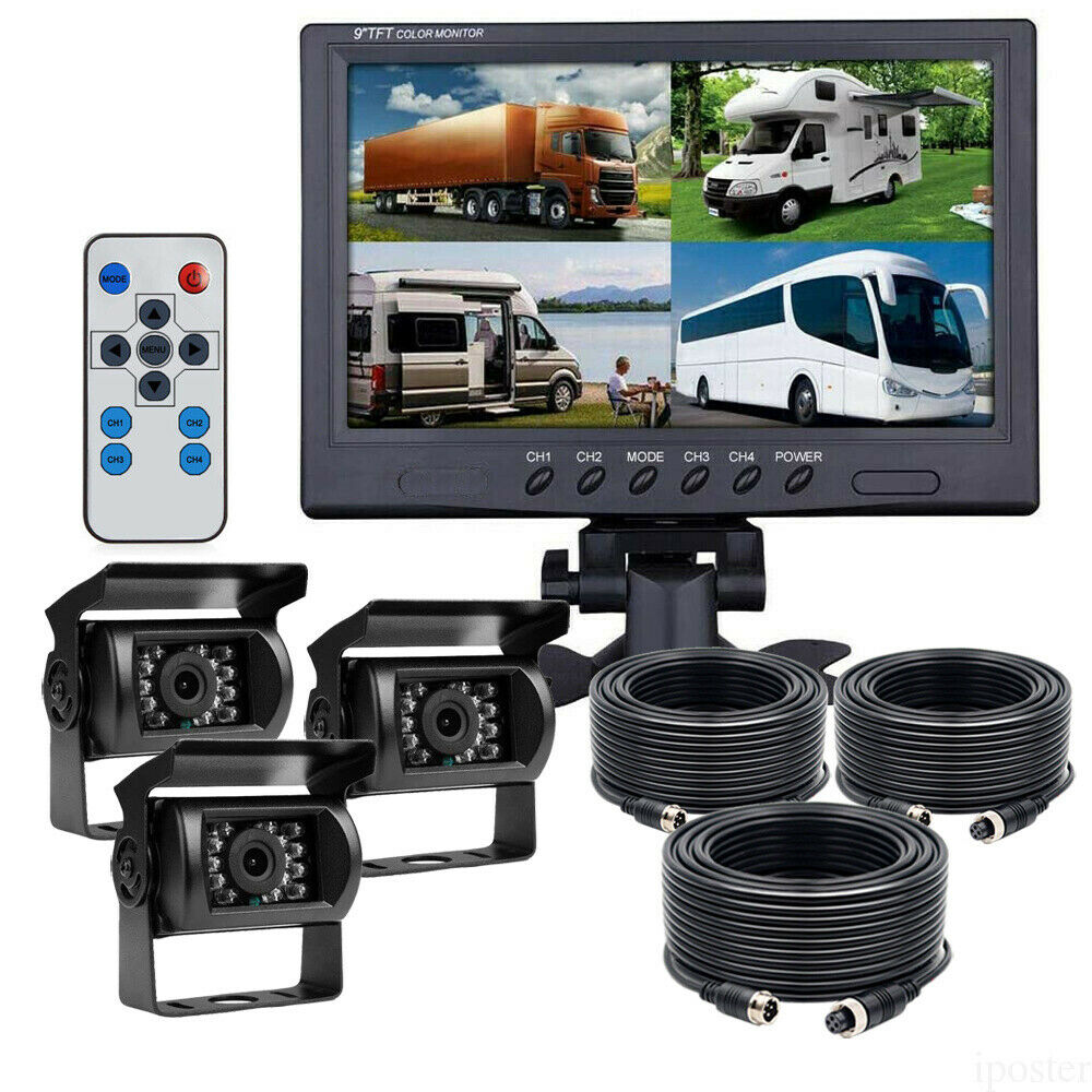 "2x Wireless IR Rear View Back Up Camera System+7"" Monitor"