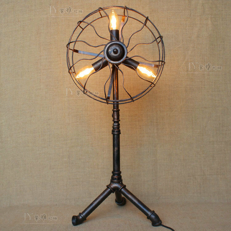 Floor Fans With Light : Industrial machine age pipe steampunk tripod e light fan