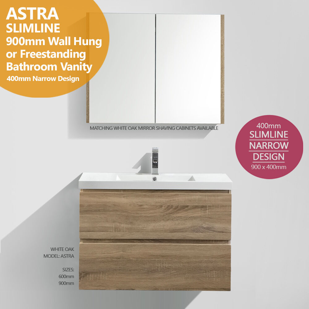 Astra Slimline 900mm White Oak Timber Wood Grain Narrow Bathroom Vanity   400mm  Ebay