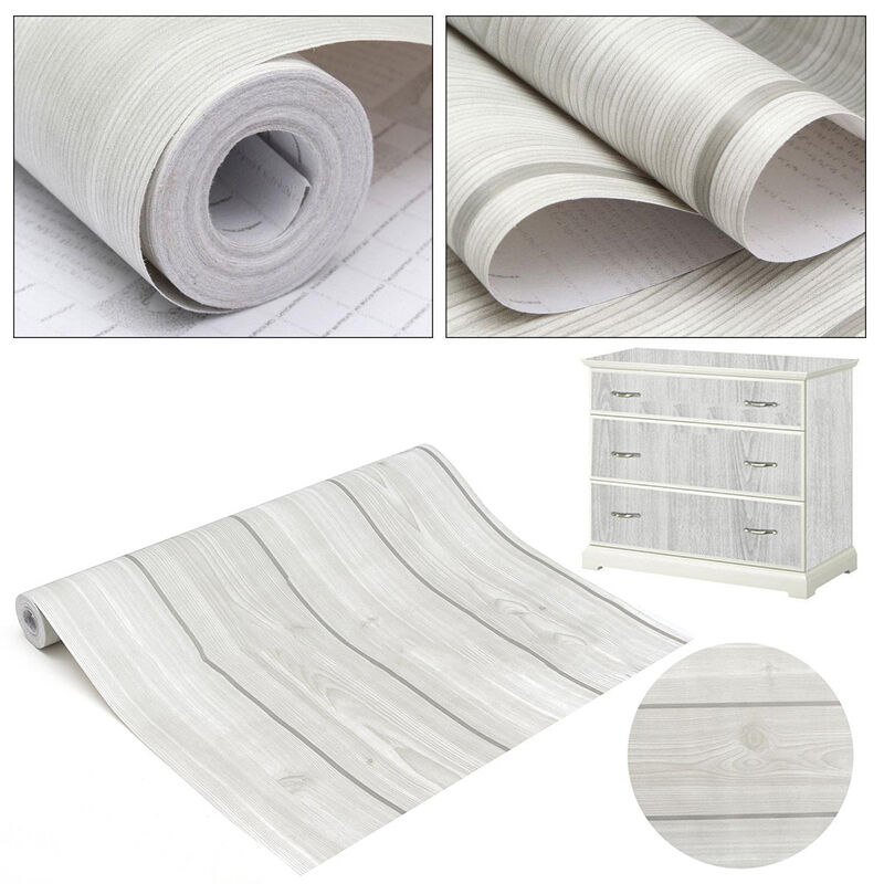 45cmx10m self adhesive wood grain wall decor paper sticker film desk decal home ebay. Black Bedroom Furniture Sets. Home Design Ideas