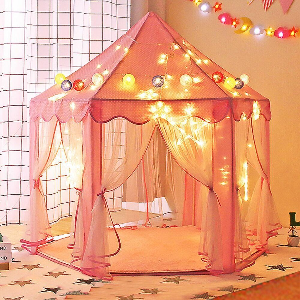 pink princess castle play house children fun netting outdoor kids play tent ebay. Black Bedroom Furniture Sets. Home Design Ideas
