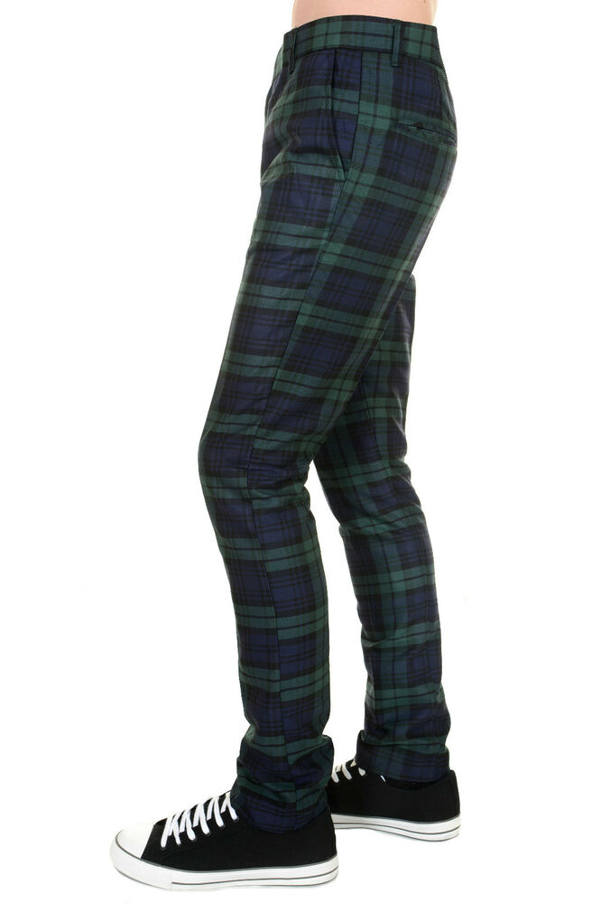Brand-new Mens 60s Vintage Retro Mod Blackwatch Slim Skinny Fitting Tartan  WZ11