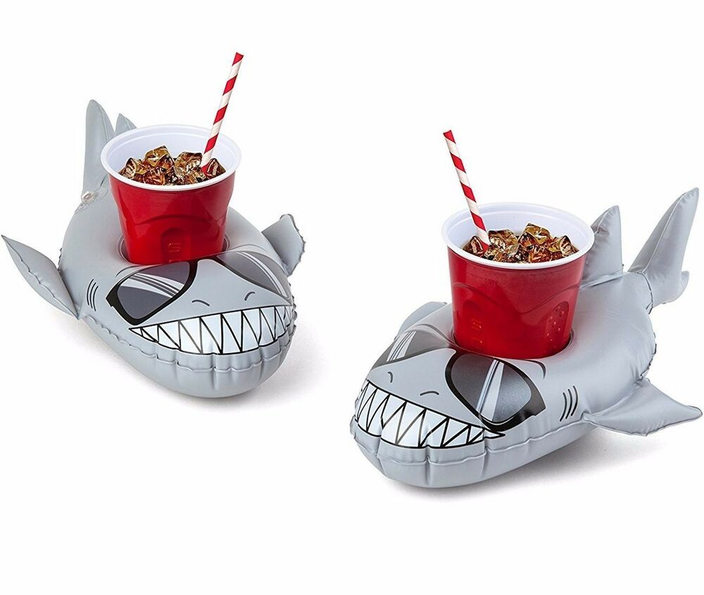 2 Pk Shark Beverage Boat Inflatable Cup Drink Can Holder