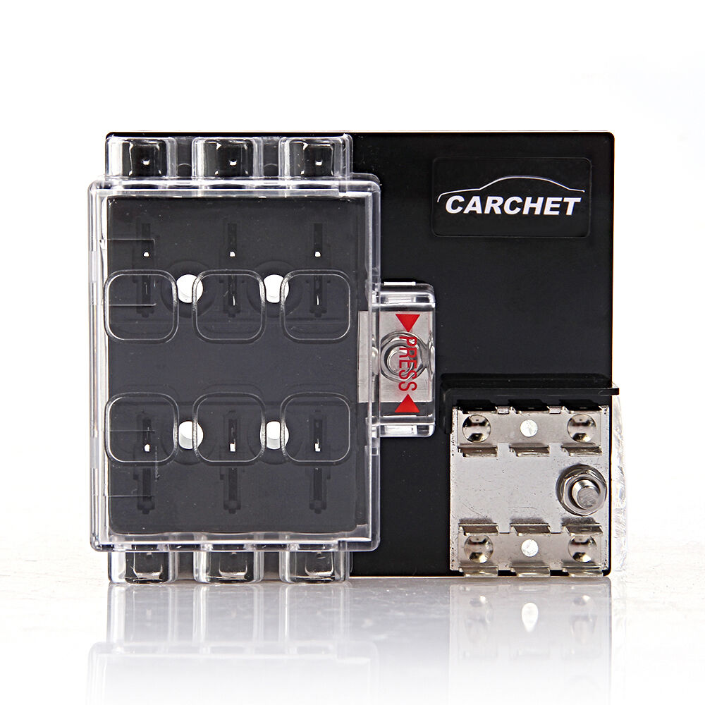 Car 6 Way Block Holder Circuit Fuse Box Cover Block Holder