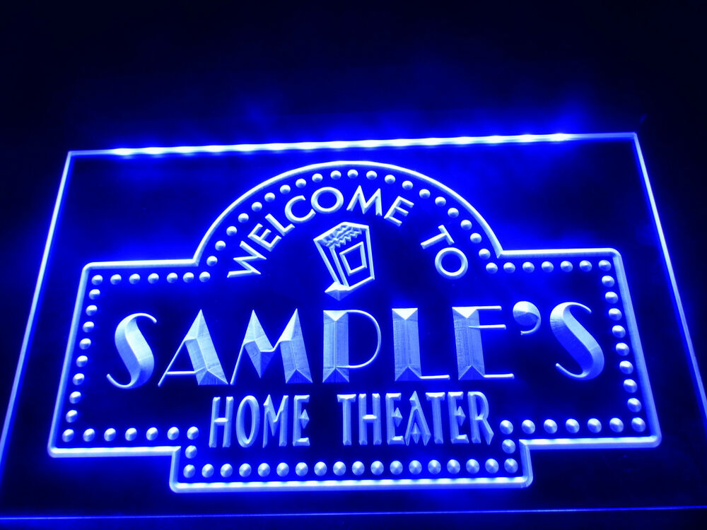 personalized home theater led sign custom name neon light sign family tv room ebay. Black Bedroom Furniture Sets. Home Design Ideas