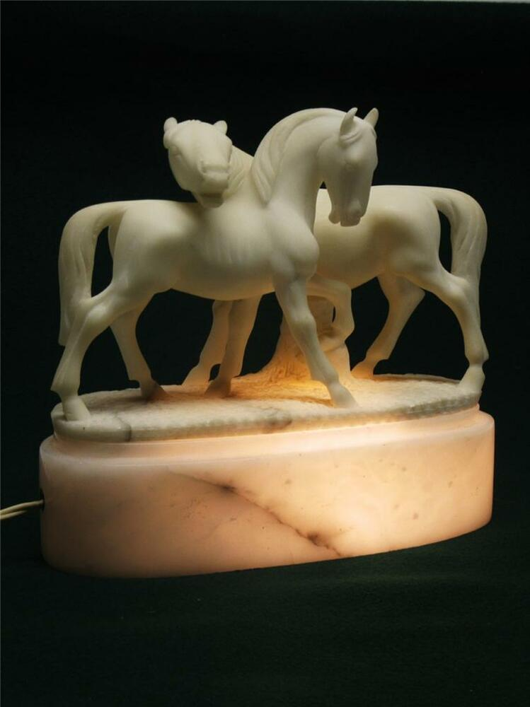 Horse Sculpture Alabaster Table Lamp Hand Carved Italian