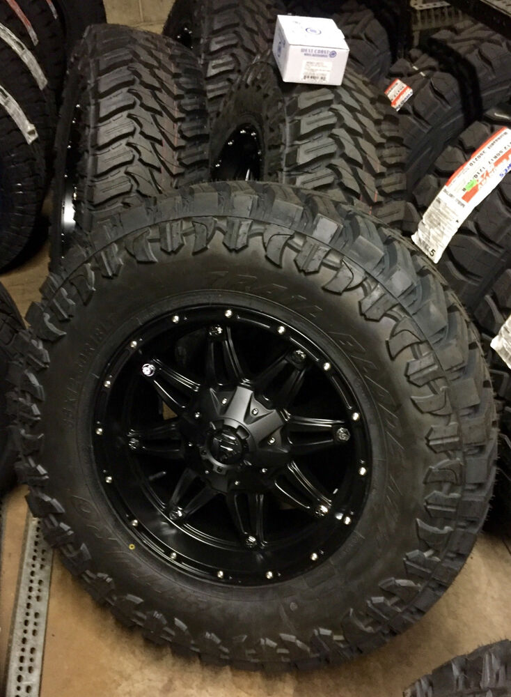 "Jeep Jk Wheels >> (5) 18"" Fuel Hostage Black Wheels 35"" Atturo MT Tire Package Jeep Wrangler TJ YJ 
