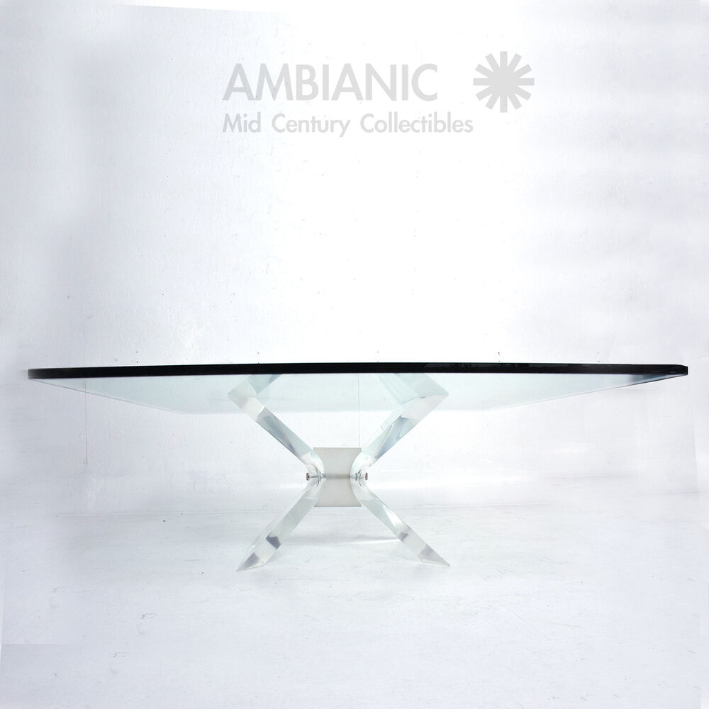 Leon Frost Lucite And Glass Coffee Table Ebay