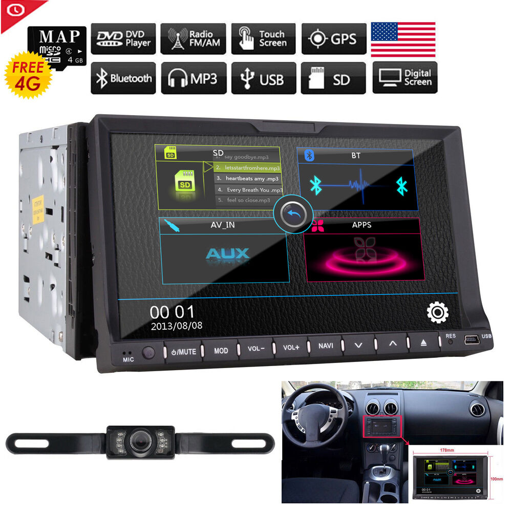 2din 7 car stereo dvd radio player ipod bluetooth gps. Black Bedroom Furniture Sets. Home Design Ideas
